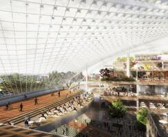 This rendering shows the inside of the proposed Charleston South building looking west.