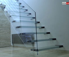 Glass Straight Staircase with Glass Balustrade