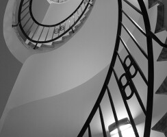 Elliptical Staircase, Marble claded, Patinated Bronze balustrade, Helical Staircase