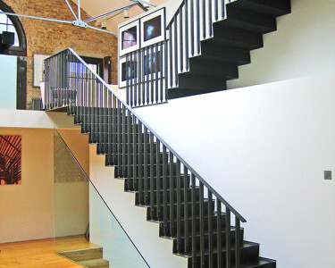 Hewer Street - Straight Staircase with glass balustrade