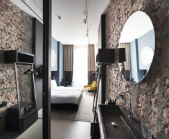 boutique hotel room-brick