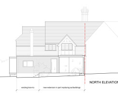 Elevation Drawing of Single Storey Glazed Extension