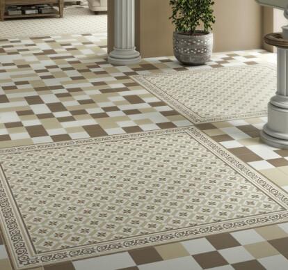 Border floor tiles