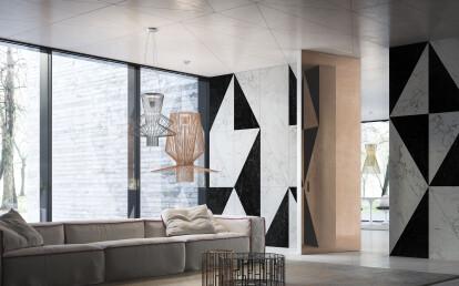 Linvisibile - Brezza - Filo 10 Vertical Pivot Door - Marble stone boiserie finish