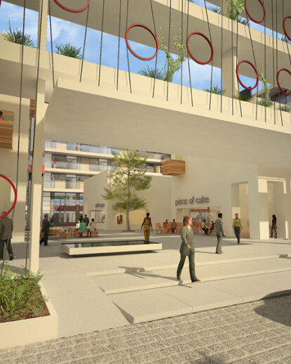 Complex of offices and shops with a multi level garden