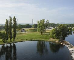 Aerial view of the Aquarium building
