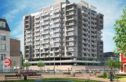 3D Housing Building Rendering or Visualization