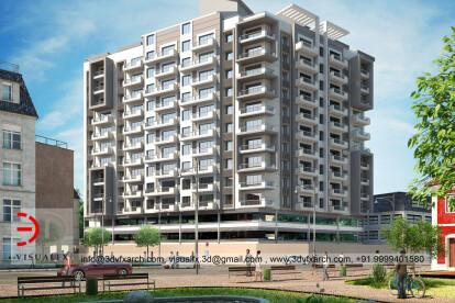 3D Housing Building Rendering