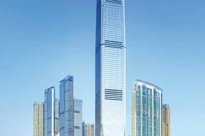 the exterior view of International Commerce Centre