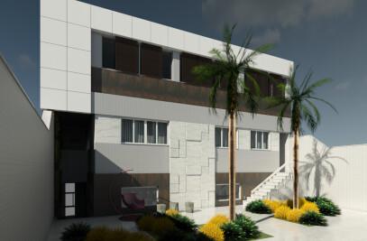Fachada + Entrada Lateral - Residência Elegance