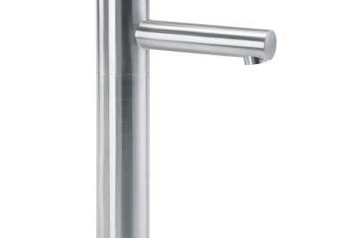 Basin tap in stainless steel for top mounted wash basins