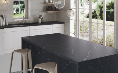 Charcoal Soapstone draws inspiration from the natural beauty of blue-grey Soapstone with its contrast between a deep charcoal foundation and the white veining.