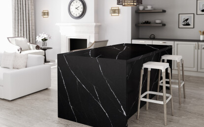 Evocative of Black Marquina marble, Eternal Marquina is striking with its rich, black background and intense, white details.