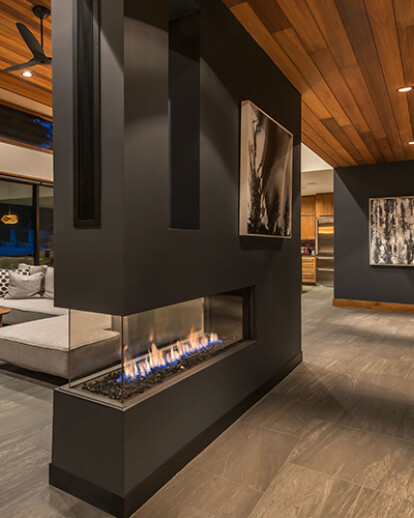 Method Home Prefab with Lucius 140 Fireplace