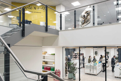 Staircase linking showroom and upper floors