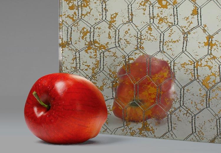 """""""VintageMirror™ Textured Gold Flake"""" Chicken Wire Mirrored Glass"""