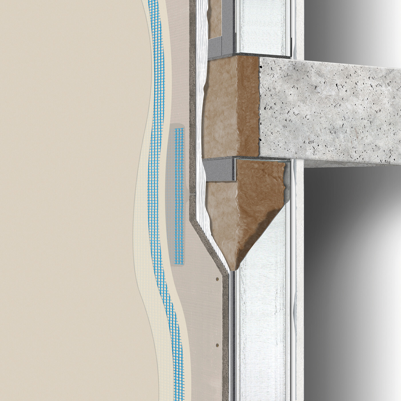 Exterior wall construction directly-applied / water-managed between floors: single stud