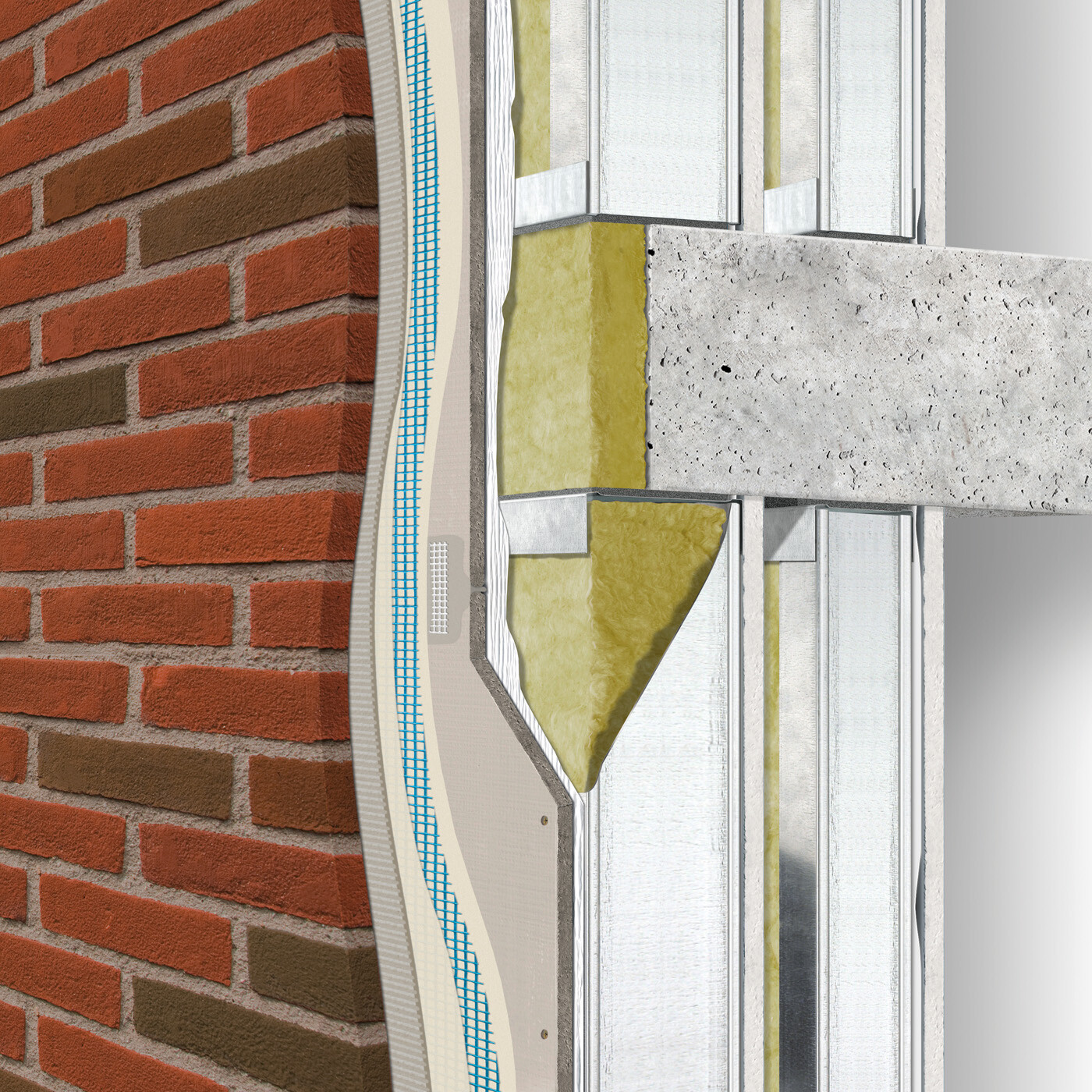 Exterior wall construction directly-applied / water-managed between floors: double stud with intermediate board