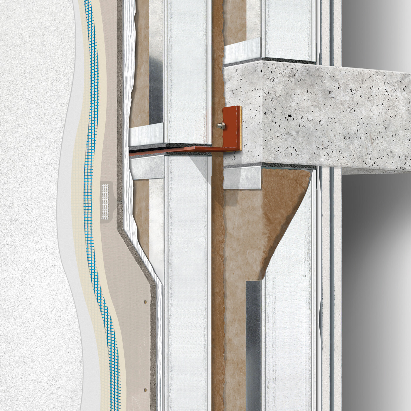 Exterior wall construction directly-applied / water-managed in front of floors: double stud