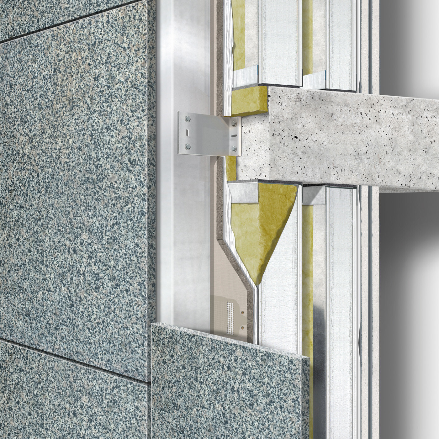 Ventilated construction: Exterior wall building envelope behind between floors cladding double stud