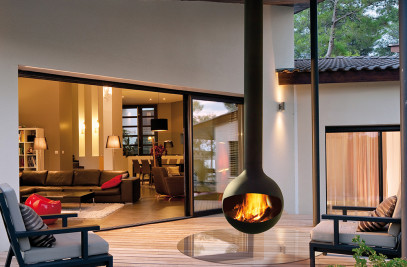 Bathyscafocus Outdoor Suspended Wood Fireplace