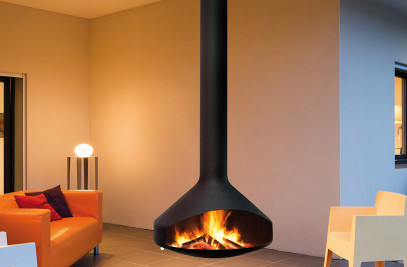 Ergofocus Suspended Wood Fireplace