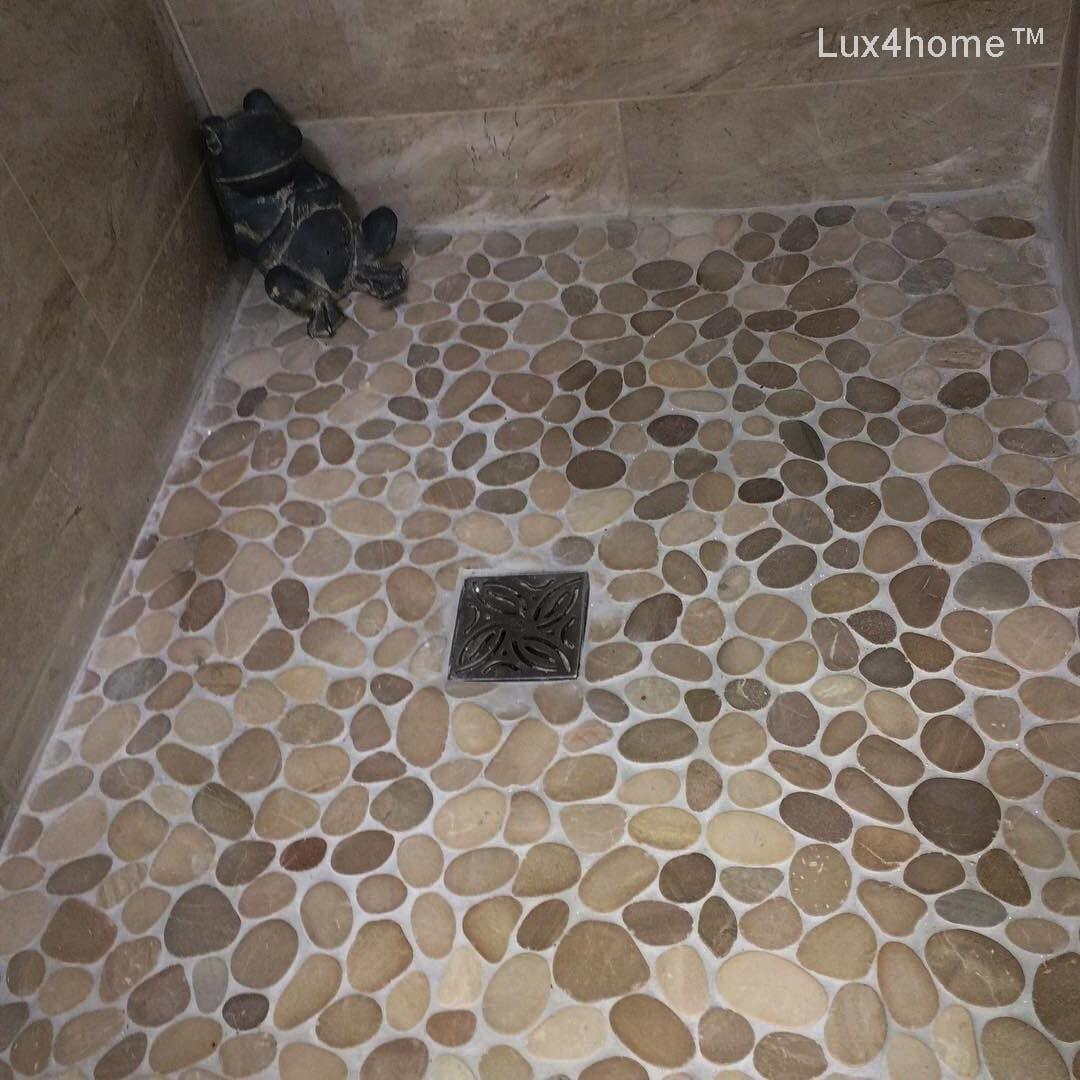 Pebble Tile Bathroom Beige, Bathroom With Pebble Tiles