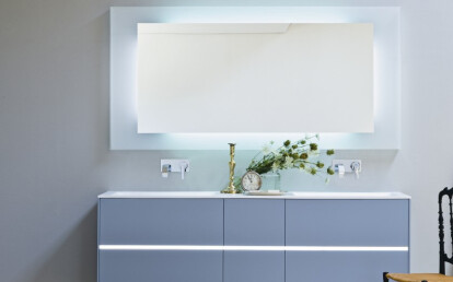 Light Azure opaco with central led band, Mirror Yang