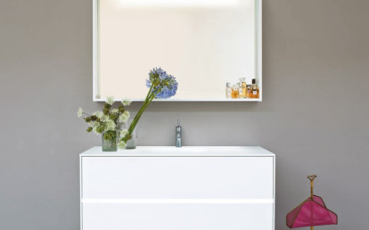 Light Grey lucido with central led band, backlight led mirror