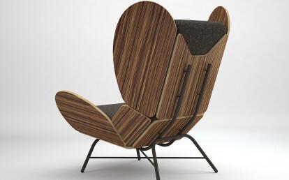 FreeWing lounge chair - zebrano