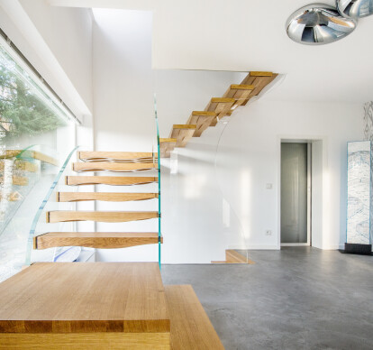 Glass and wood stairs
