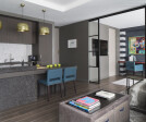 London pied-a-terre open-plan living area