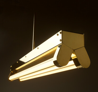 Polished Brass Art Deco Twin LED Tube Light