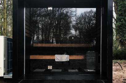 Design outdoor sauna with overhang