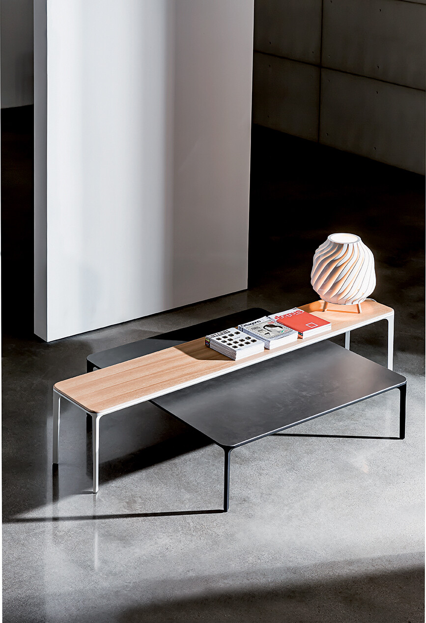 Slim console with glass top