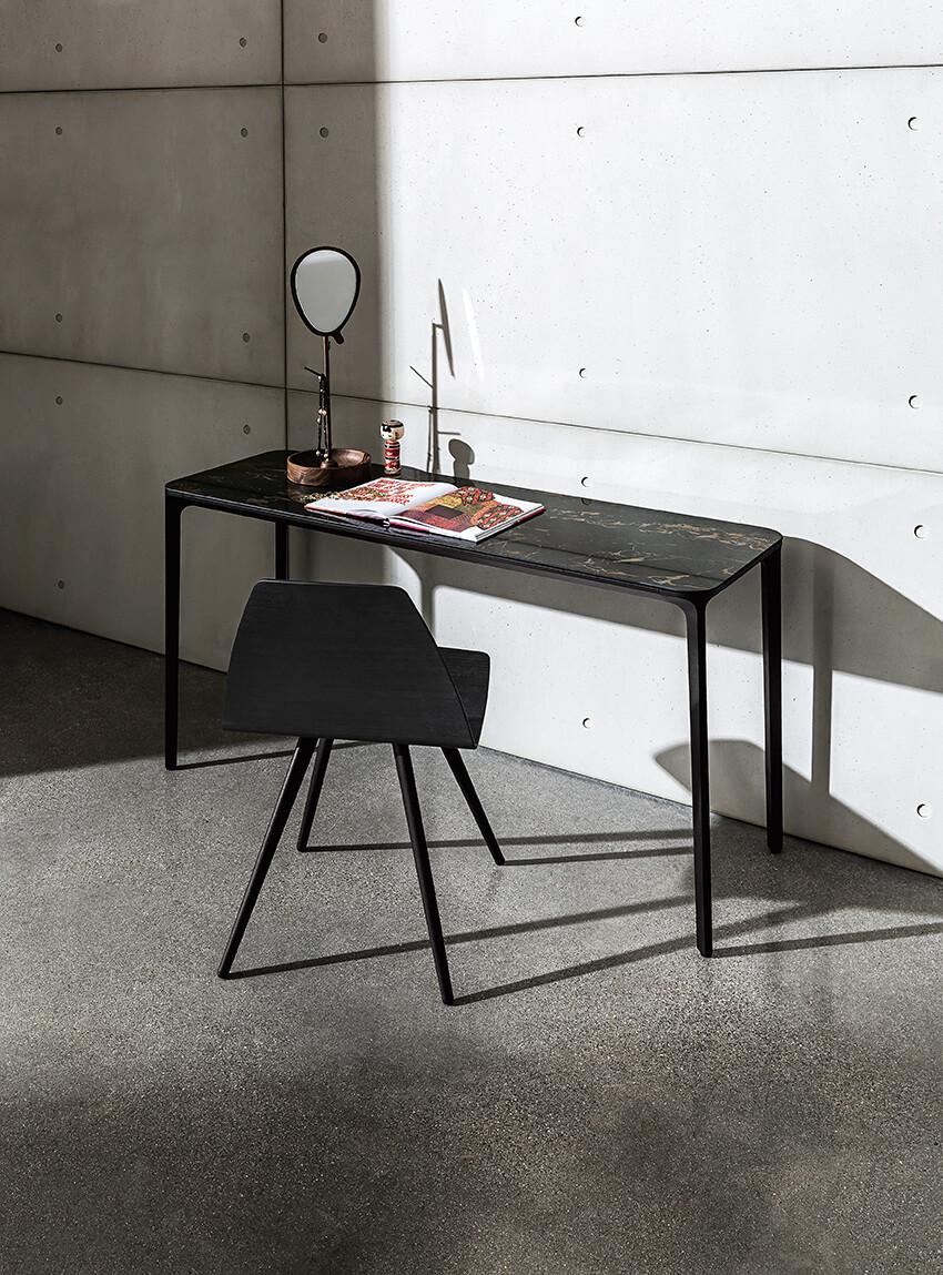 Slim console with ceramic top