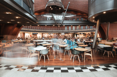 A food court inspired by modern home kitchens.