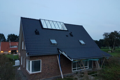 Large glass strips pitched roof