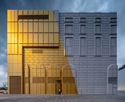 The façades of The Imprint are literally a product of their environment; features from the surrounding buildings are projected and imprinted onto the buildings