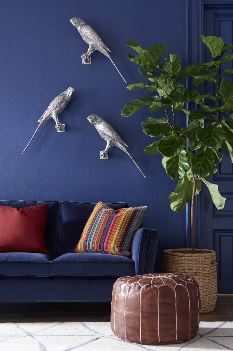 Parrot Wall Sculpture, Silver Leaf