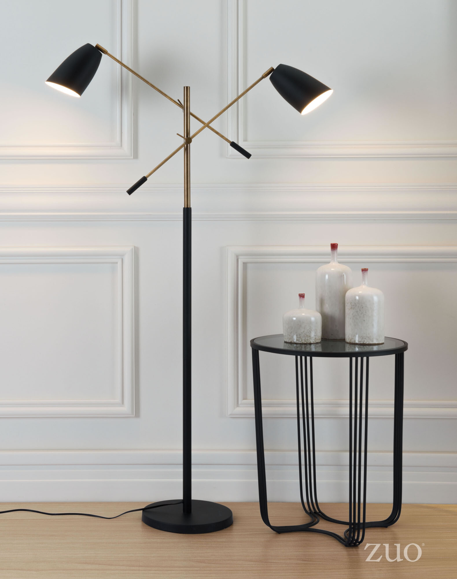 56079 Tanner Floor Lamp Matt Black & Brass