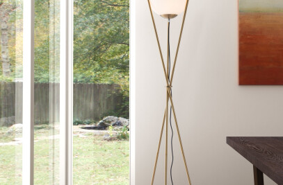 56052 Antwerp Floor Lamp White & Brushed Brass
