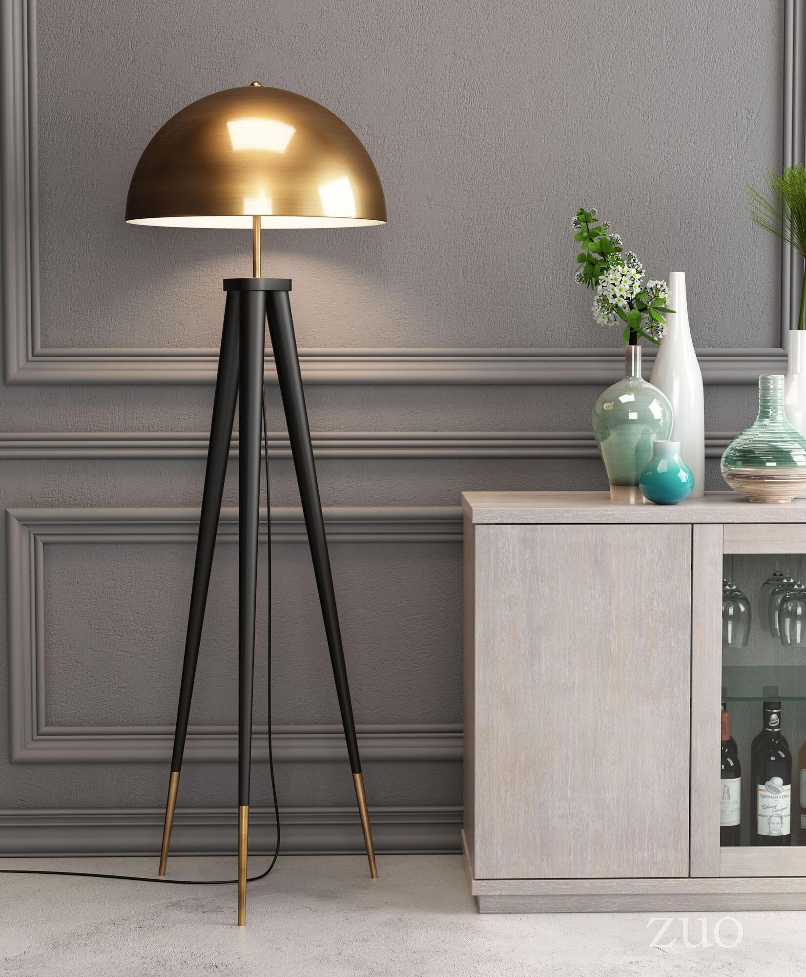 56088 Mascot Floor Lamp Brass & Black