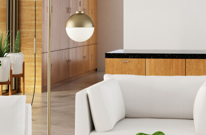 56053  Waterloo Floor Lamp White & Brushed Brass