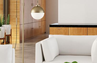 56053  Waterloo Floor Lamp White & Brushed Brass