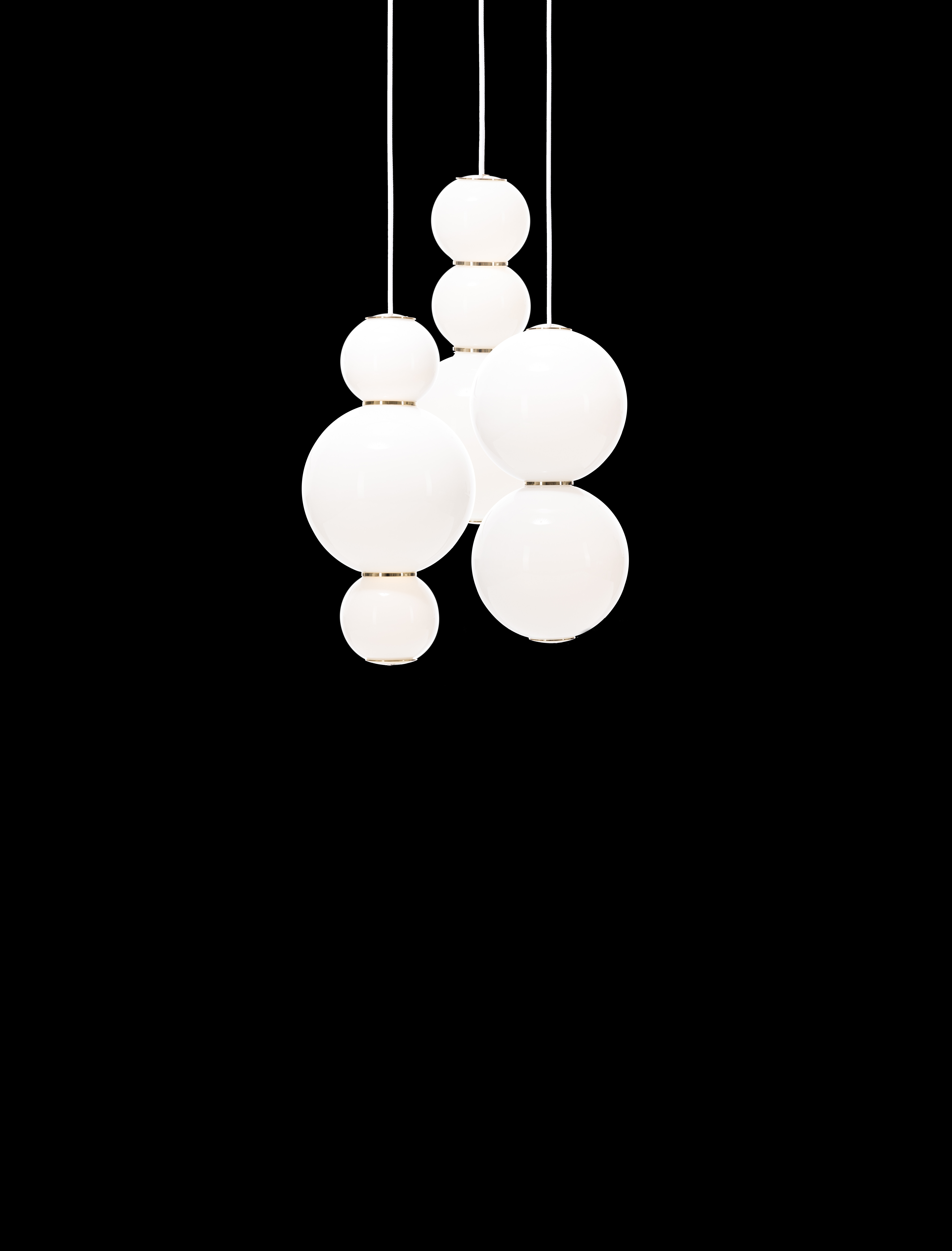 Pearls Chandelier 3 White / Gold