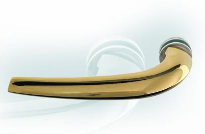 Tetra glass door handle, gold