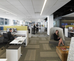 The spatial components of the workspace include 168 open workstations with eight different typical footprints to address different work requirements