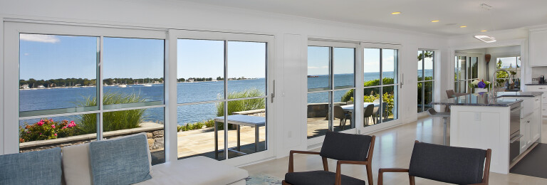 Stamford on the Water - great room with waterfront views