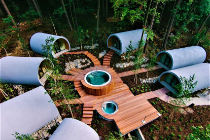 Outdoor Spa With Seven Wellness Pods And Soaking Pool With Hot Tub